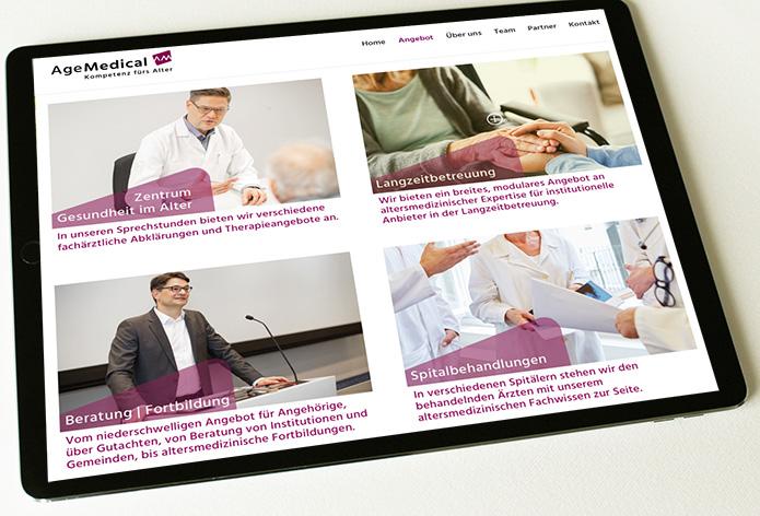 Age Medical 4 – Referenzbild von laufweite Webdesign & Corporate Design | Raum Zürich