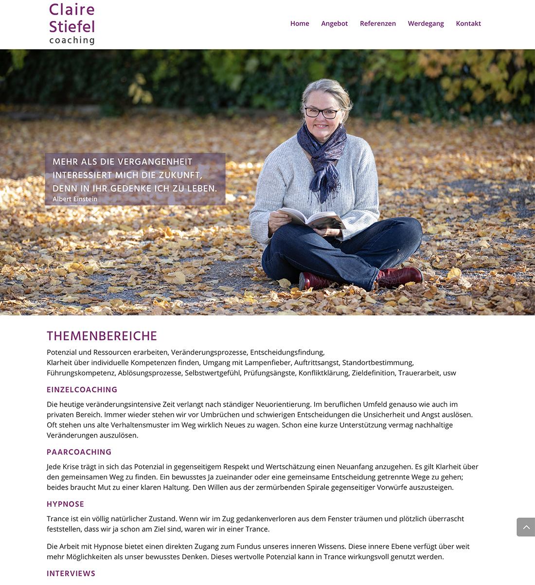 Claire Stiefel coaching 2 – Referenzbild von laufweite Webdesign & Corporate Design | Raum Zürich
