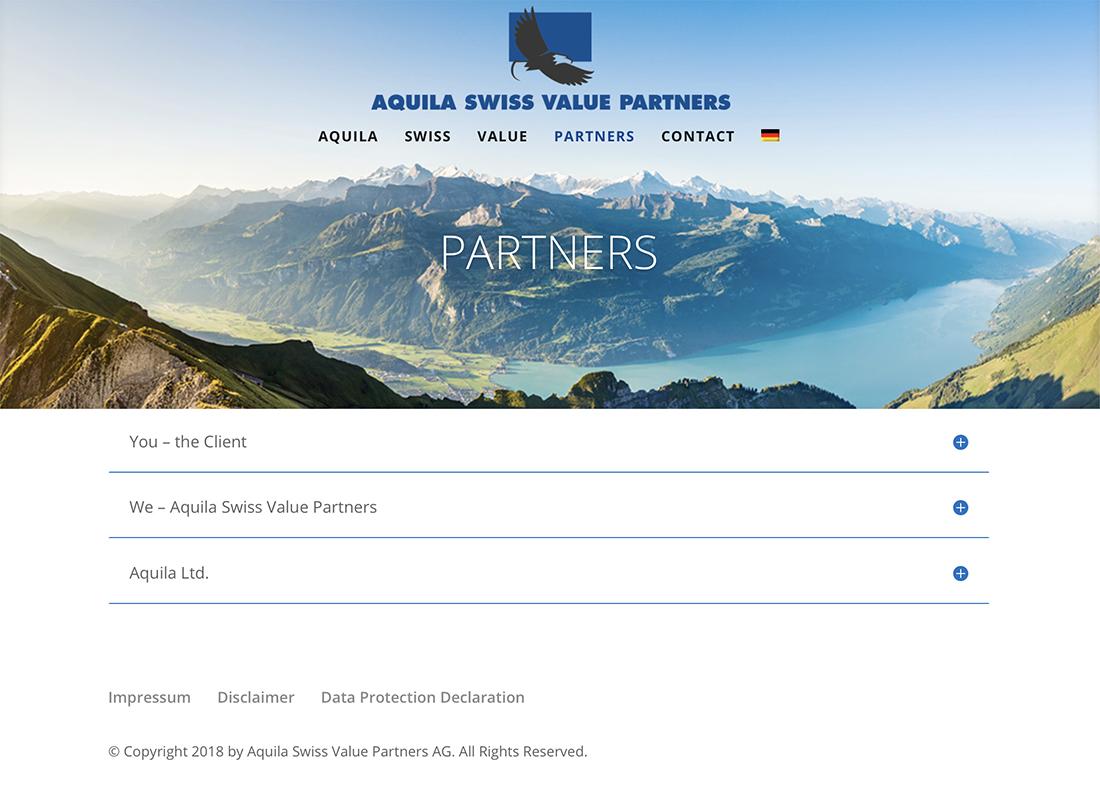 Aquila Swiss Value Partners 2 – Referenzbild von laufweite Webdesign & Corporate Design | Raum Zürich