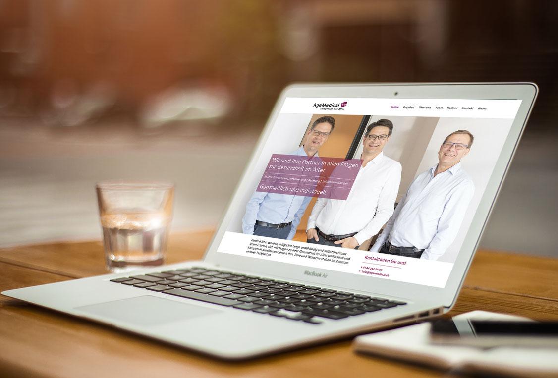 Age Medical 1 – Referenzbild von laufweite Webdesign & Corporate Design | Raum Zürich