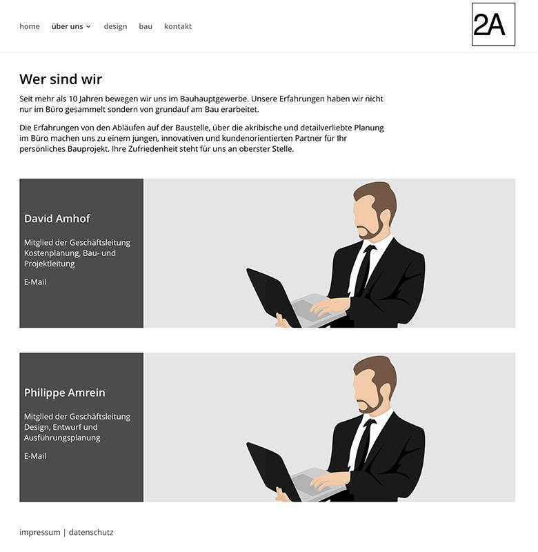 2A Amhof Amrein Architektur 3 – Referenzbild von laufweite Webdesign & Corporate Design | Raum Zürich
