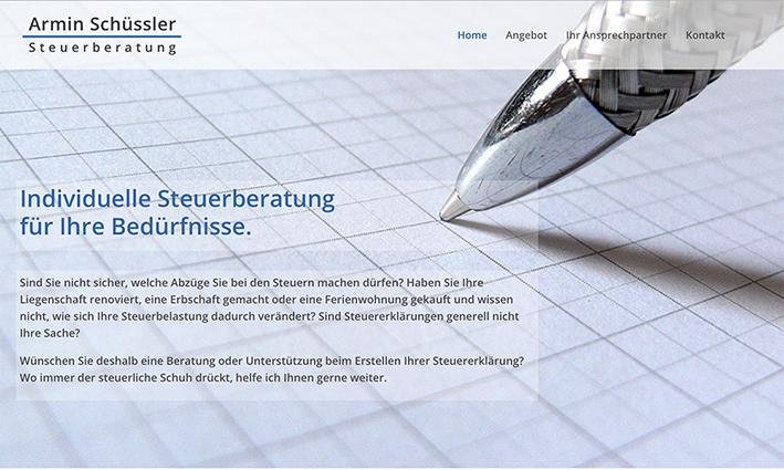 Armin Schuessler Steuerberatung 1– Referenzbild von laufweite Webdesign & Corporate Design | Raum Zürich