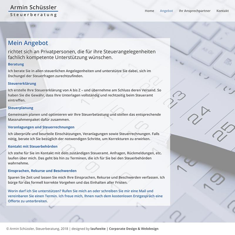 Armin Schuessler Steuerberatung 2– Referenzbild von laufweite Webdesign & Corporate Design | Raum Zürich