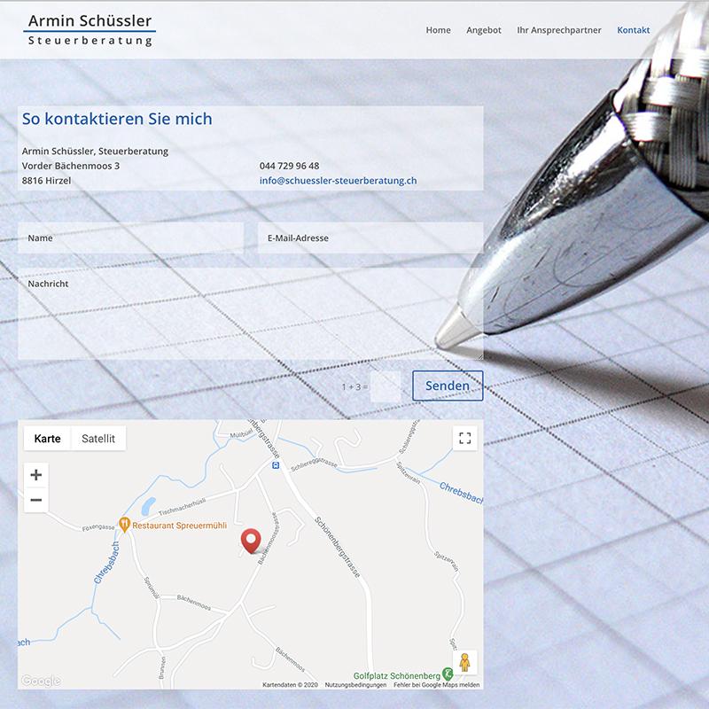Armin Schuessler Steuerberatung 3– Referenzbild von laufweite Webdesign & Corporate Design | Raum Zürich