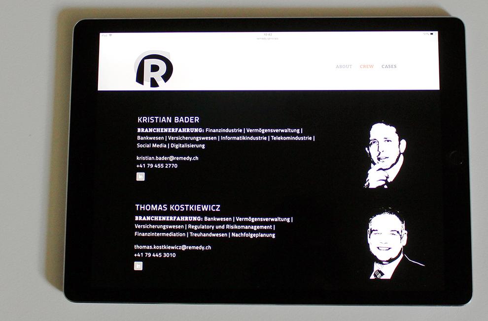 Remedy – Referenzbild 2 von laufweite Webdesign & Corporate Design | Raum Zürich