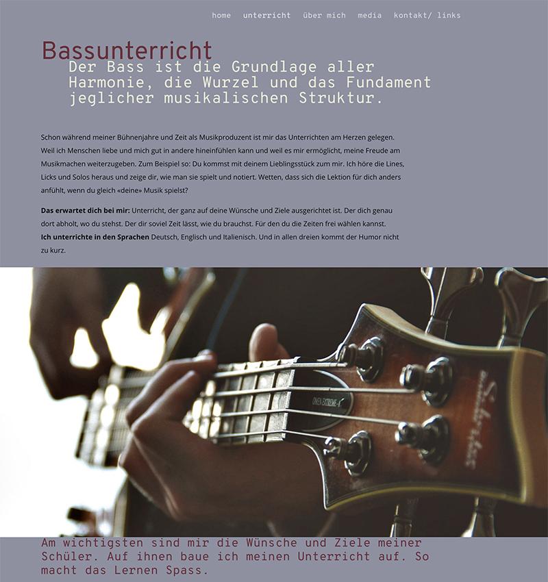 Bassunterricht Billy Wirz 3 – Referenzbild von laufweite Webdesign & Corporate Design | Raum Zürich