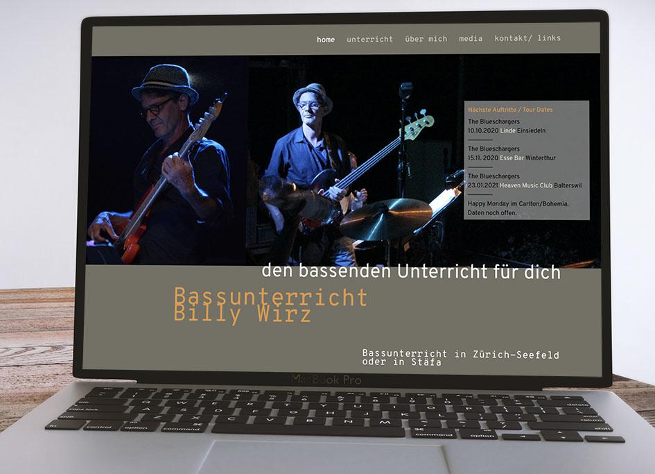 Bassunterricht Billy Wirz 1– laufweite Webdesign & Corporate Design | Raum Zürich