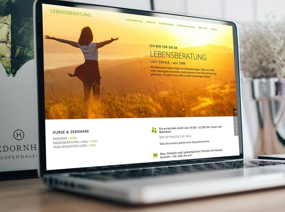 lebensberatung 1 – Referenzbild von laufweite Webdesign & Corporate Design | Raum Zürich