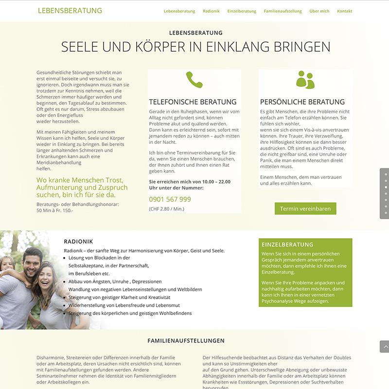 lebensberatung 2 – Referenzbild von laufweite Webdesign & Corporate Design | Raum Zürich