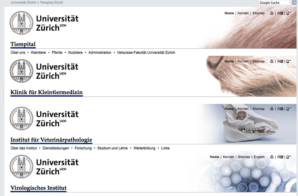 Universität Zürich, Vetsuisse Fakultät Website Referenzbild 1 | laufweite Webdesign & Corporate Design | Raum Zürich