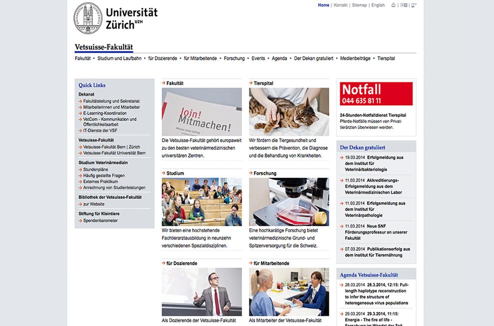 Universität Zürich, Vetsuisse Fakultät Website Referenzbild 2 | laufweite Webdesign & Corporate Design | Raum Zürich