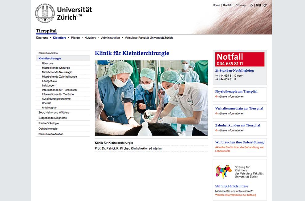 Universität Zürich, Vetsuisse Fakultät Website Referenzbild 3 | laufweite Webdesign & Corporate Design | Raum Zürich
