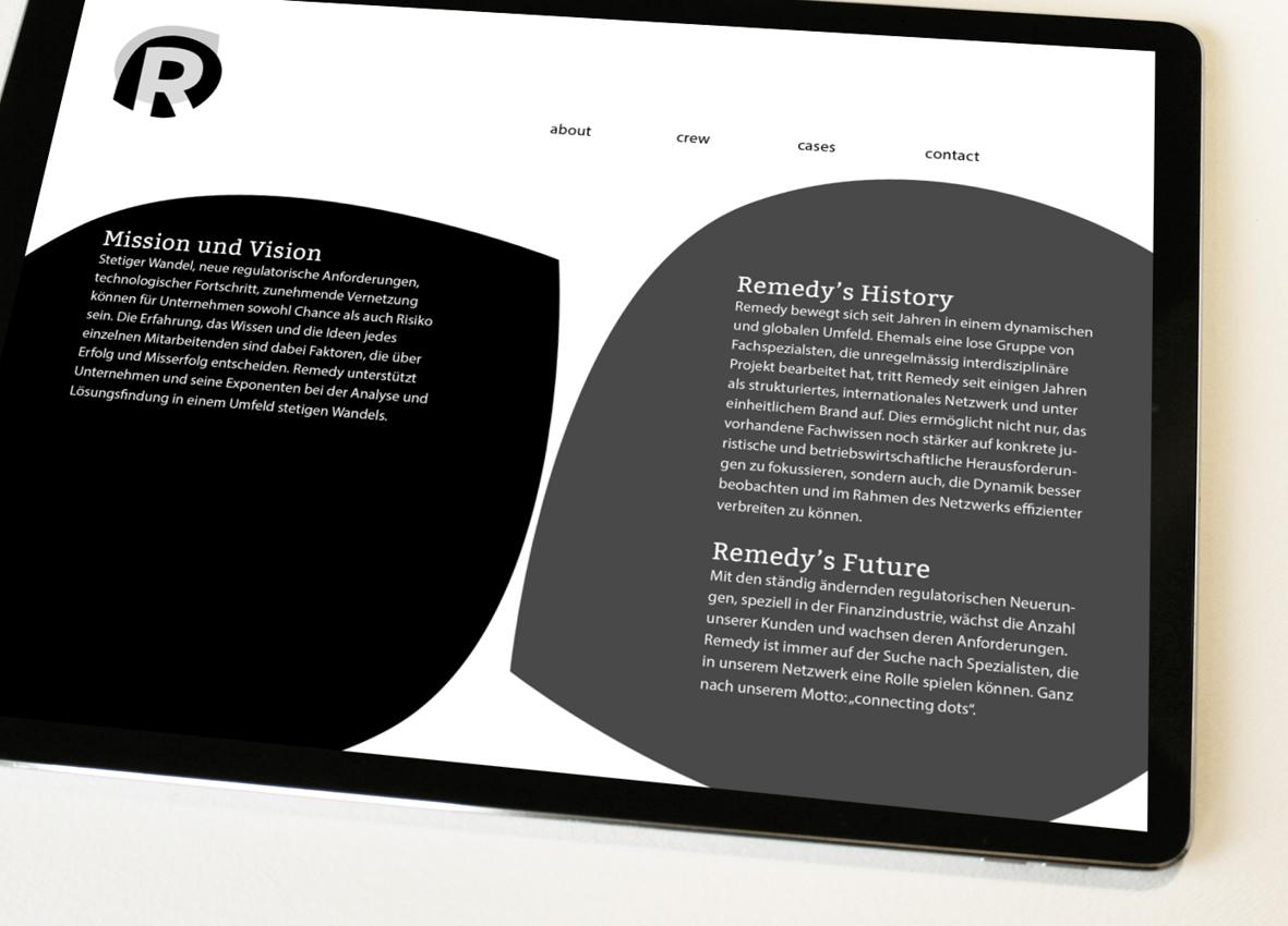 Remedy – Referenzbild 1 von laufweite Webdesign & Corporate Design | Raum Zürich