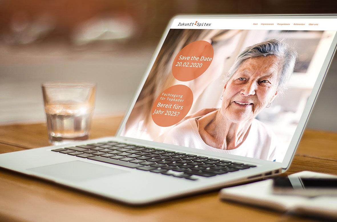 Zukunft: Spitex 1 – Referenzbild von laufweite Webdesign & Corporate Design   Raum Zürich